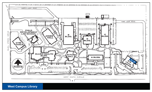 Map of West Campus with Library indicated